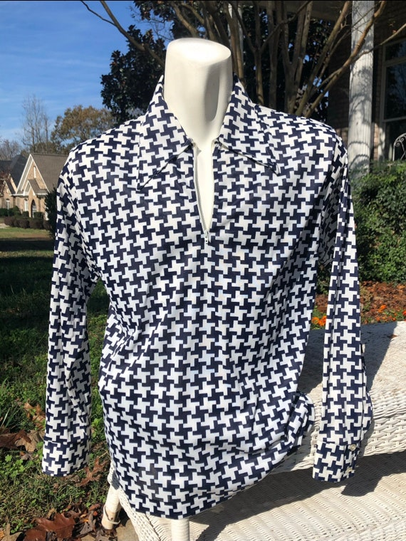Vintage 70s Yellow and Black Houndstooth Patterned Dagger Collar Men/'s Shirt