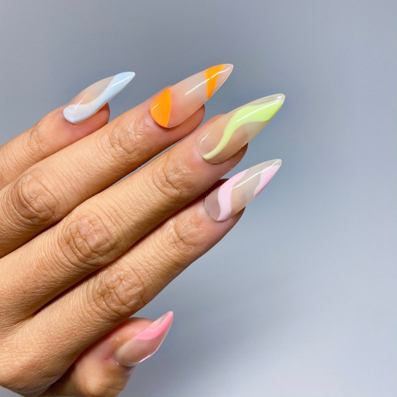 Abstract Swirl Nails in Pastel  Press on Nails  Apres GelX image 0