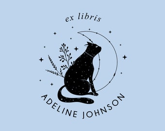 Ex Libris Stamp | Book Stamp Personalized | Cat Book Plate | Rubber Stamp or Self Inking | Design: STL015