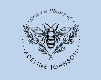 From the Library of Stamp | Book Stamp Personalized | Bee Ex Libris Stamp | Rubber Stamp or Self Inking | Design: STL003