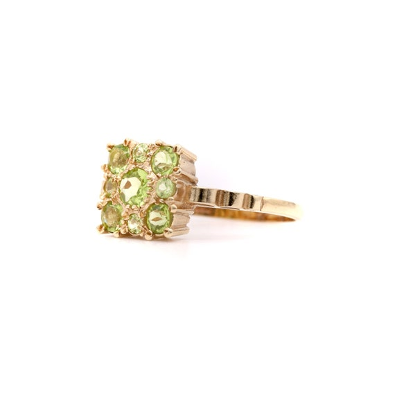 Vintage 9ct Gold Peridot Cluster Ring, Square 9kt