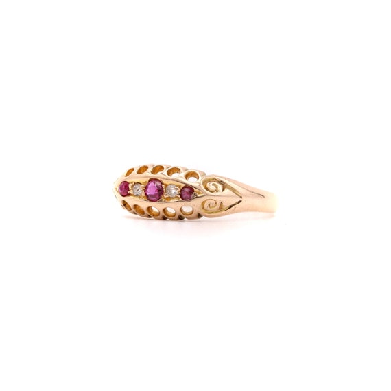 Edwardian 18ct Gold Ruby Diamond 5 Stone Ring – An