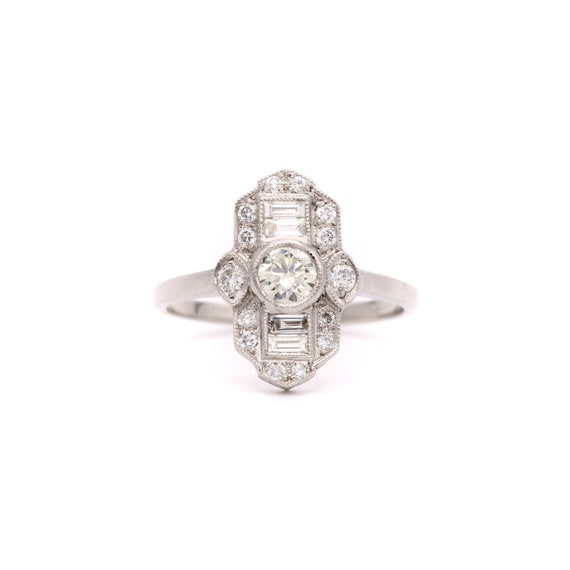 Art Deco Style Platinum 0.75ct Diamond Panel Ring,