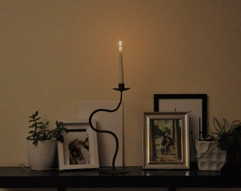 Forged standing type candlestick, Wrought Iron, Hand Forged, Steel Holders, Black or gold, Blacksmit made, 100% handmade,