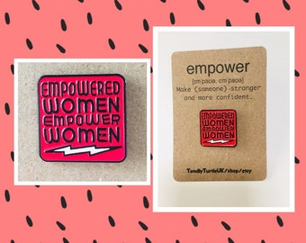Feminist empowered women enamel pin badge gift with free decal sticker