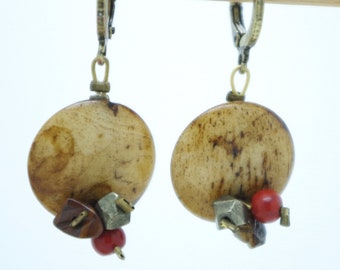 """Earrings """"Sand Flowers"""" in Jaspe landscape, pyrite and red jasper. Unique jewel, handmade with Love."""