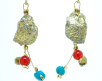 """""""Mineral Flowers"""" earrings in pyrite, turquoise and cornaline"""