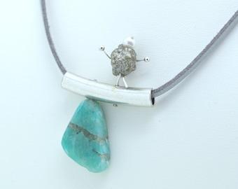 """In balance"" pendant. Amazonite stone, silver agate and rhodium tube. Unique handmade jewel with Love."