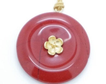 """""""Red and Gold Jaspe Flower"""" pendant donut. Unique jewel. Handmade with Love"""