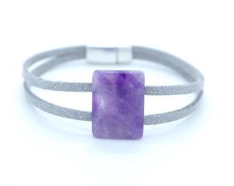 Amethyst cuff bracelet. Unique jewel. Handmade with Love
