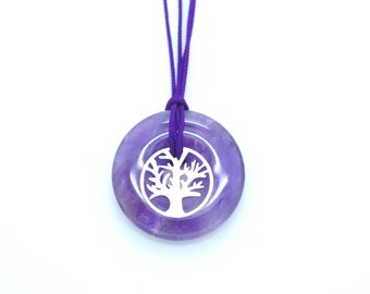 Tree of Life and Amethyst pendant. Unique jewel, handmade with Love