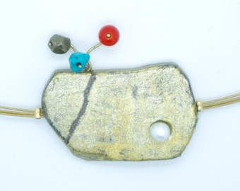 """""""Mineral nature"""" pendant in pyrite, freshwater pearl, turquoise and cornaline"""