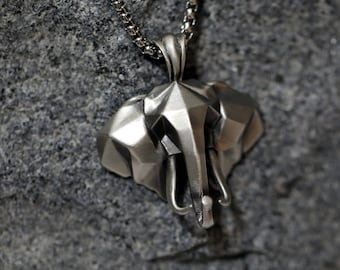 Zoo Animal Good Luck Wisdom Silver Animal Pendant Sterling Silver Pachyderm Jewelry Silver Elephant Head Necklace Positive Energy