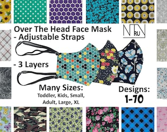 Over Head Face Mask for Hearing Aid, Designer Face Mask, Over the Head Face Mask with elastic around head, Kid Hearing Aid Accessory