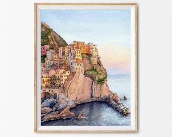 Watercolor italian coast print, Italian coast wall art, Cinque terre art, Manarola wall art, Print manarola art, Italy watercolor painting