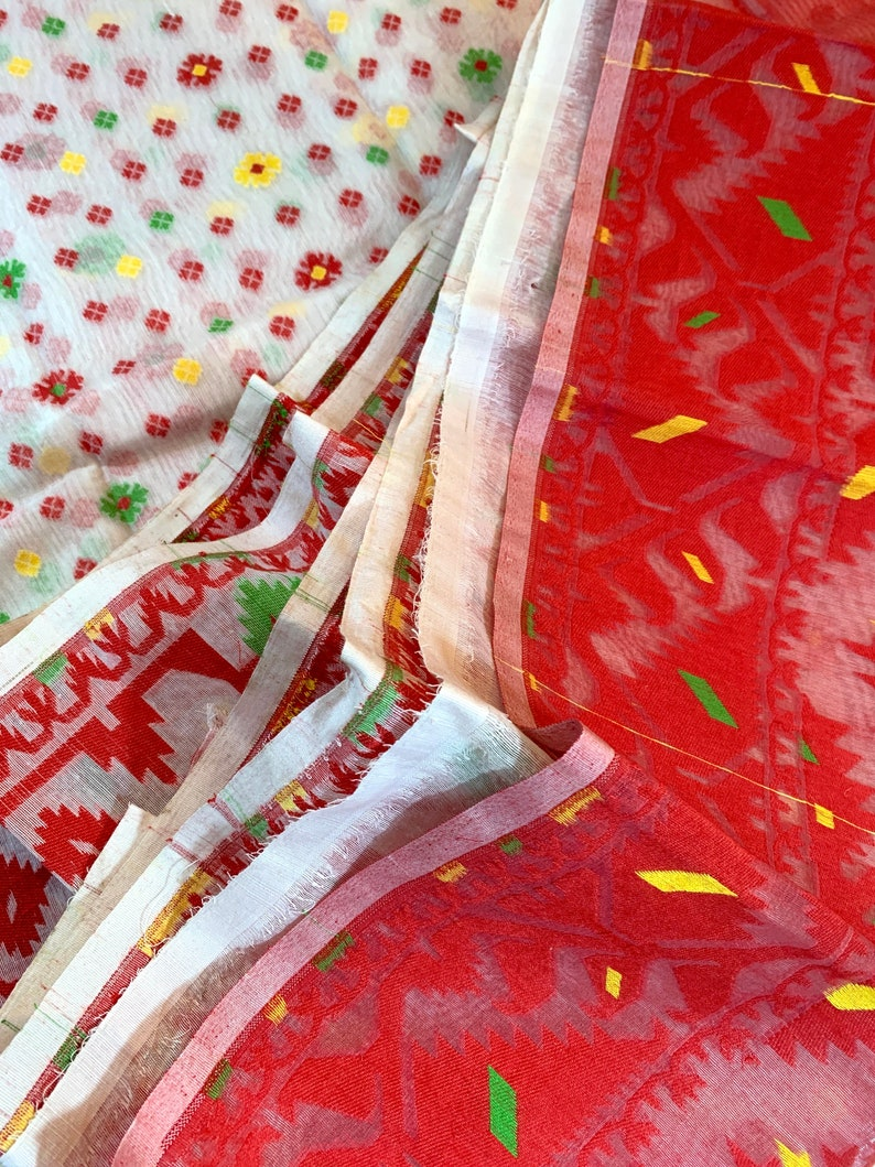 Red /& White Cotton Hand-woven Jamdani Saree with Multi-colored Motifs