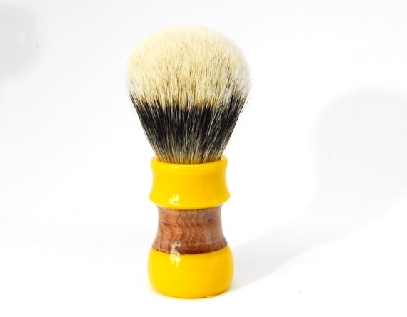 Shaving brush handle, handcrafted from synthetic resin and wood