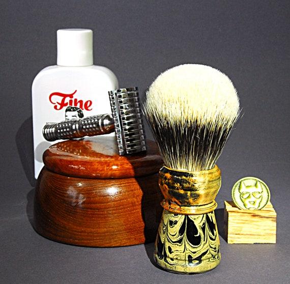 Shaving Brush »Copenhagen«, Handmade from Ebonit and Wood