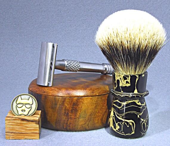 Shaving brush »Hamburg«, handmade from ebonit