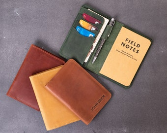 Personalized Groomsmen Gift, Field notes cover personalized, leather notebook refillable, leather pocket notebook, journal cover