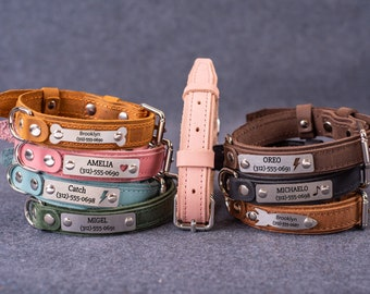 Personalized Leather Dog Collar, Custom Dog Collar with Name Plate, Engraved Dog Collar, Small Dog Collars Girl Dog Collar for Female Dogs