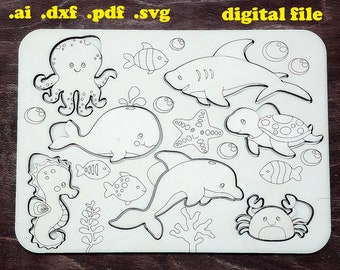 Instant Download Mosaic Templates Vector Laser cut vector files SVG CNC Animal Puzzles DXF Conundrum Games for children Cricut Cutting