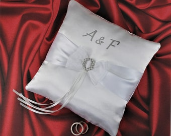 RING BEARER PILLOW Wedding, Personalized Initials,  Pink, Navy ,White and other colours, Satin