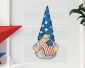Patriotic gnome, cross stitch pattern, Counted cross stitch