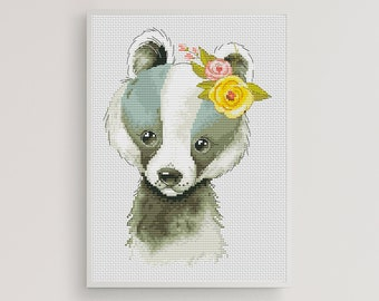 Modern Cross Stitch Pattern Badger