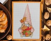 Autumn gnome, Cross stitch pattern, Counted cross stitch, DIY Thanksgiving day