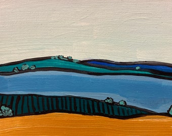 """5""""x7"""" Landscape Painting on Panel, Rolling Hills, Colorful Art, Wall Hanging, Semi Abstract Art, Chicago Artist"""