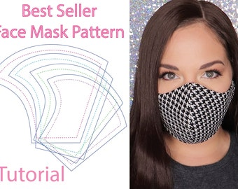 Face Mask Pattern Tutorial 4 Sizes 3 Layers Filter Pocket Face Mask PDF Pattern, and Instructions Instant Download Kids and Adults.