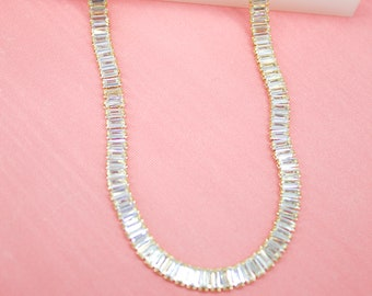 Clear Dangle CZ Stones Necklace For Wholesale Jewelry And Findings 18K Gold Filled