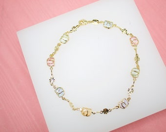 18K Gold Filled Heart Charm Beaded Bead Anklet With Red Heart Stones For Wholesale Dainty Ankle Bracelet Jewelry Making Supplies