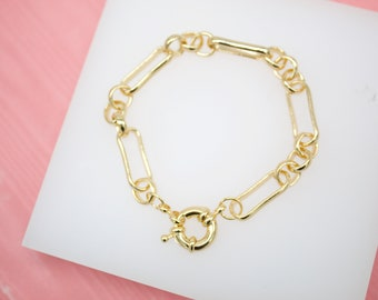 18K Gold Filled 22mm Thick Chunky Rolo Round Link Bracelet For Wholesale Chain Bracelets