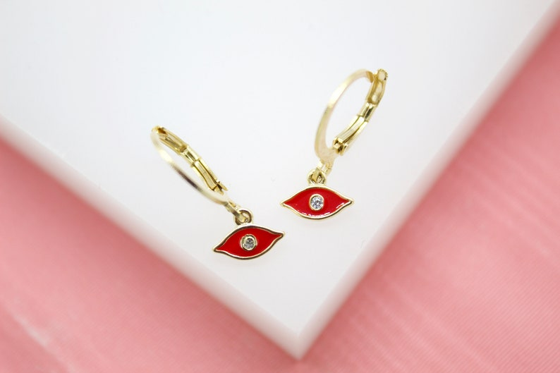 18K Gold Filled Evil Eye Huggies Earrings With CZ Stones For Wholesale Jewelry Supplies /& Earring Findings