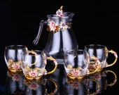 1 Water pot 4 Cups Luxury cups set Cups set Luxury glass water mugs set housewarming gift for bride coffee mugs set gift for parents