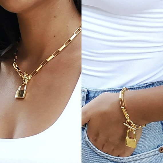 Gold lock set, Gold chain set