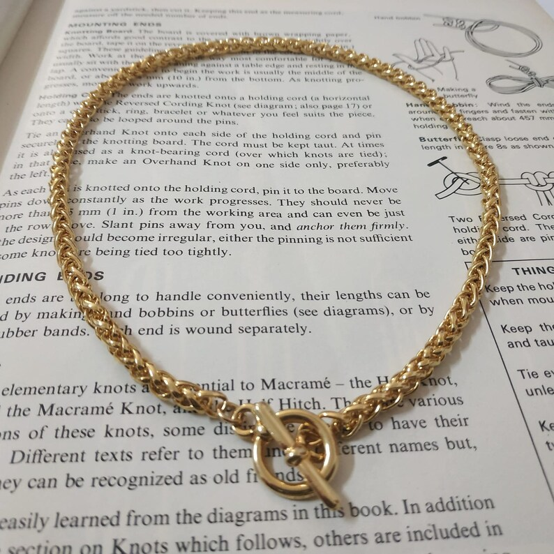 Gold toggle necklace Gold wheat chain necklace
