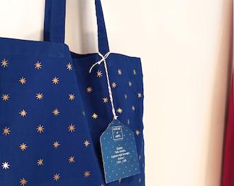 Giotto Starry Sky Gold & Blue Cotton Tote Bag // Borsa in cotone organico stampa oro // Giotto, Cielo Stellato, Cappella degli Scrovegni