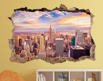 3D Smash Broken Wall  New York View sticker Decal Art Mural Black /& White NYC