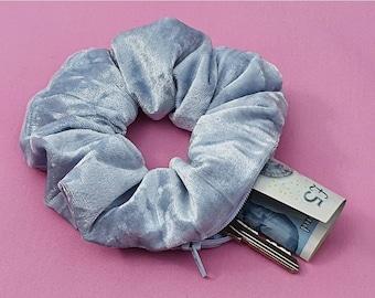 Hair Scrunchie Baby Blue Crushed Velvet Stash Scrunchie Zipper Scrunchie Velvet Stash Scrunchie