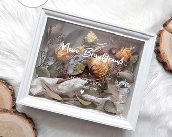 Picture frame White with lettering - My bridal bouquet in rectangular picture frame - Personalizable wedding reminder lettering 9-16