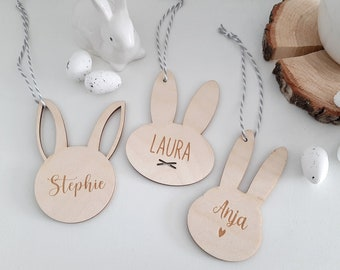 Easter Bunny Pendant with Name, Personalized Name Sign for Easter Nest, Easter Basket Bunny, Easter Gift, Easter Decoration Wish Name Engraving