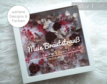 My Bridal Bouquet in Picture Frame - Picture Frame White with Personalized Lettering Wedding Lettering Stickers Various Designs 1-8