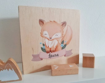 Animal picture personalized with children's names - wood picture various animal motifs! Gift Idea for Parents and Kids - My Bunny - Baby Party