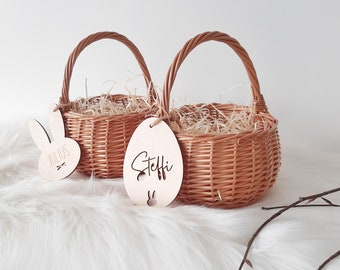 Easter basket for kids with name pendant and straw, nameplate egg, bunny pendant, Easter basket, 15 cm diameter, Easter egg surprise