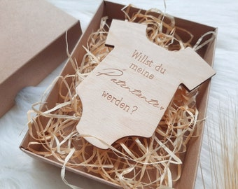 Pregnancy Announcement Wooden Pendant - Baby Surprise Box - Wooden Pacifier Bodysuit or Baby Bottle - You'll Be Dad - Patentante Question