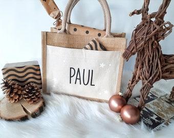 Advent Jute Bag with Names various designs, Personalized Jute Bag for Christmas, Jute Bag for Gifts, St. Nicholas Bag