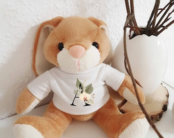 Cuddly toy bunny personalized with letters, imprint wish letter cup, plush toy, easter gift, nursery décor, boho hasi